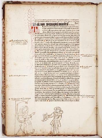 Страница средневекового манускрипта. Маргиналии