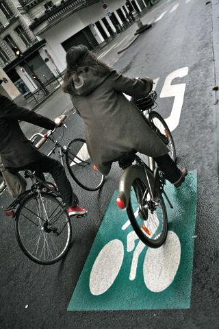 Полоса для автобусов, совмещенная с велодорожкой